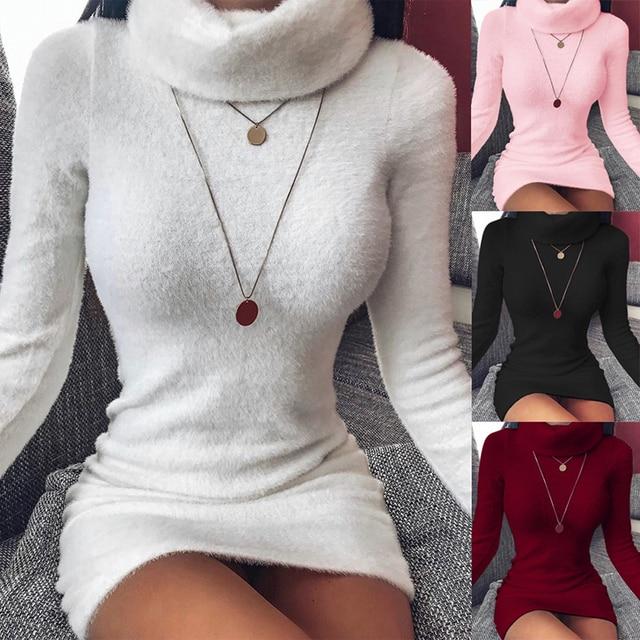 Autumn and Winter Women's High Neck Long Sleeves Slim Thin Hip Dress Warm Sweater 1