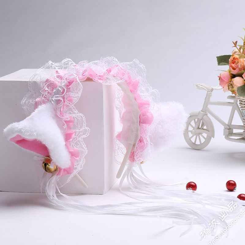 Femmes filles volants dentelle Faux soie bandeau mignon en peluche chat oreilles ruban glands cloche décor cheveux cerceau Lolita Anime Cosplay fête