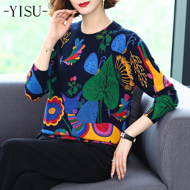 Yisu秋冬プルオーバーセーター女性高品質ルースニットセータージャンパー女性ソフト漫画プリントセーター女性