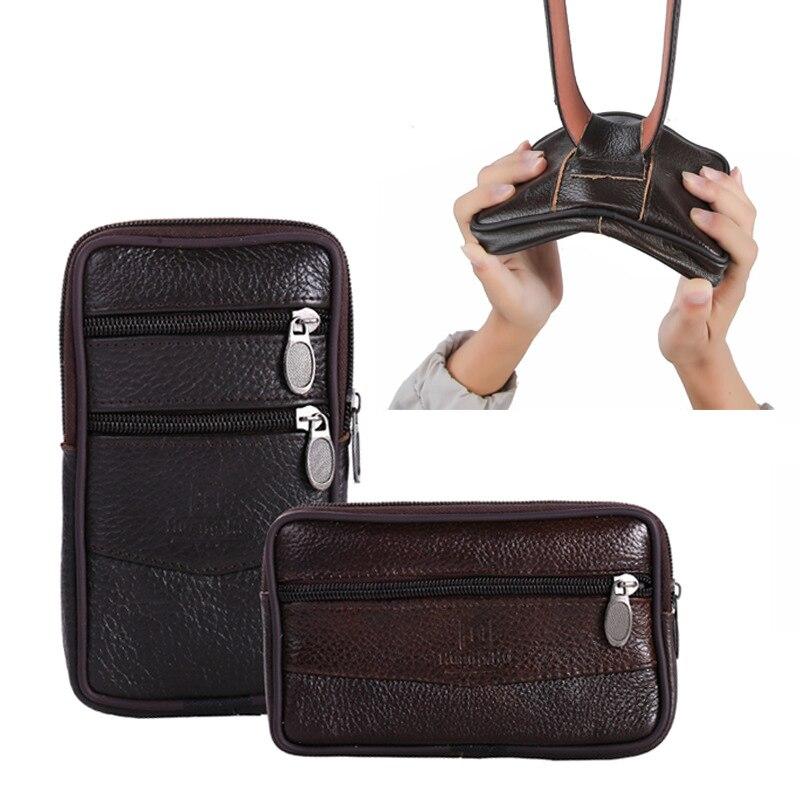 Men's Waist Bag Zipper Mobile Phone Bag Wallet Waterproof Wear Belt Horizontal And Vertical Single Layer Men's Waist Bags Purse