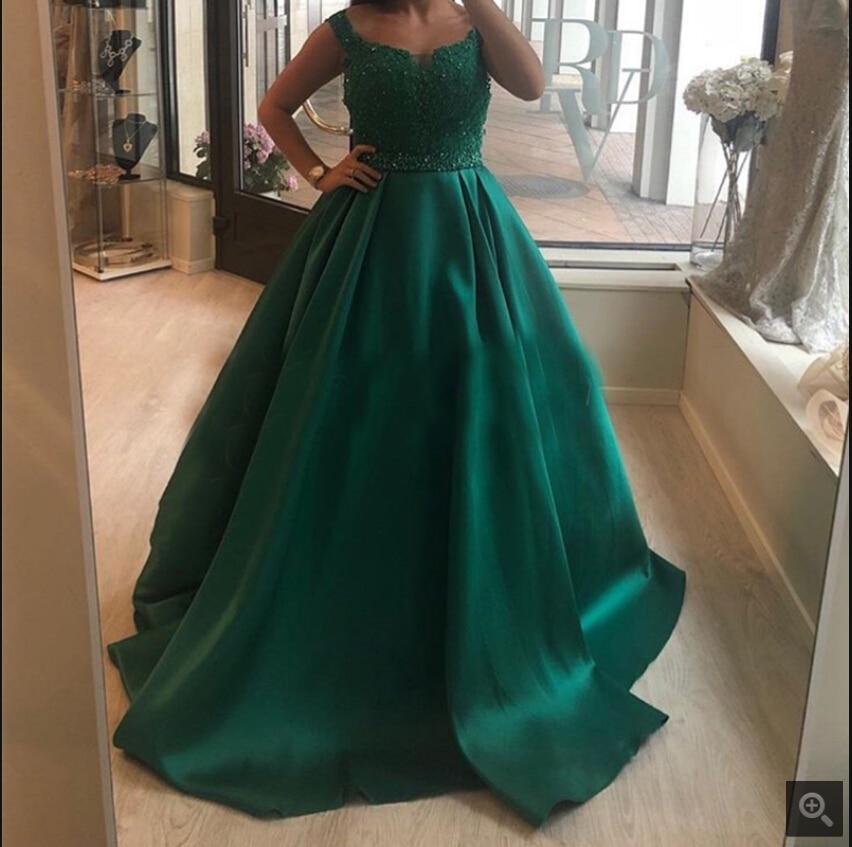 Custom Made Dark Green Long Prom Dress Appliques Beaded Puffy Ball Gown Women Formal Party Dress Floor Length Robe De Soiree New