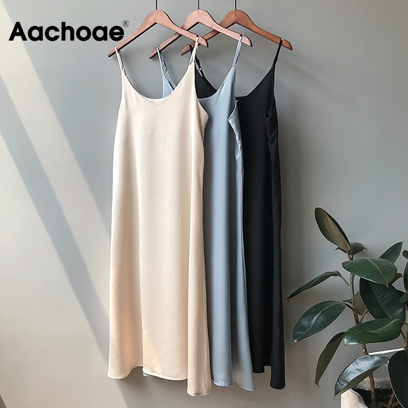 Aachoae Women Solid Long Dress Summer Sexy Slim Camisole Bottom Dress Petticoat Wild Bottoming Female Maxi Thin Dresses Vestidos|Dresses| - AliExpress