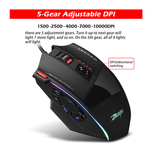 Image 3 - Zelotes C 13 Wired Gaming Mouse 13 Programming Keys Adjustable 10000DPI RGB Light Belt Built in Counterweight Mechanism mouse