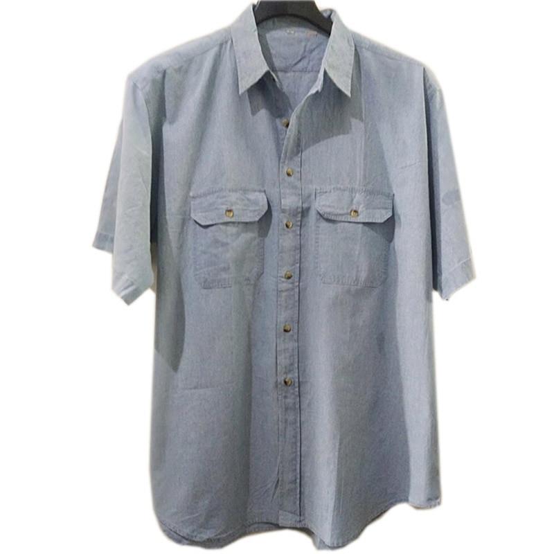 Men Denim Shirt Formal Short Sleeve Large Size Big 7XL 8XL Solid Leisure Navy Blue 9XL 10XL Blouse