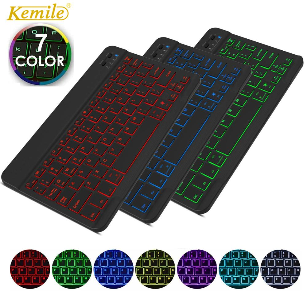 Ultra Thin 7 Colors LED Backlit Backlight Wireless Russian/Spanish/Arabic Bluetooth Keyboard For IPad Air 10.5 Pro 9.7 Keyboard