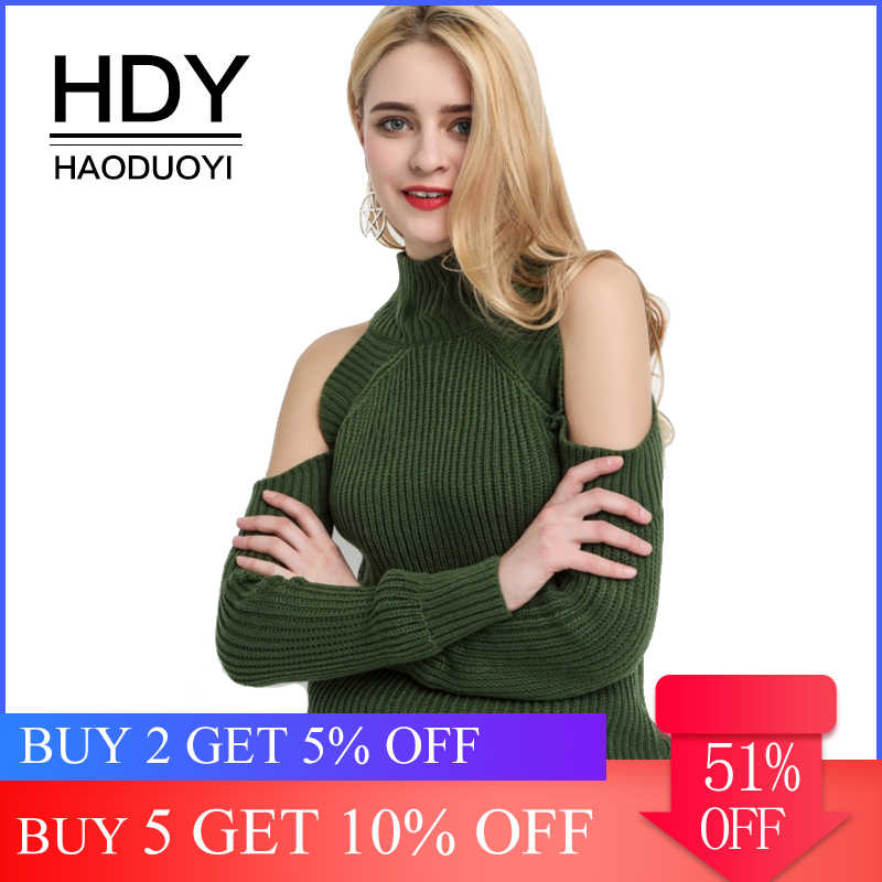 HDY Haoduoyi Women's High Neck Cold Shoulder Long Sleeve Sweater Autumn Warm Pullovers Knitted Tops Jumpers Fashion Sweaters