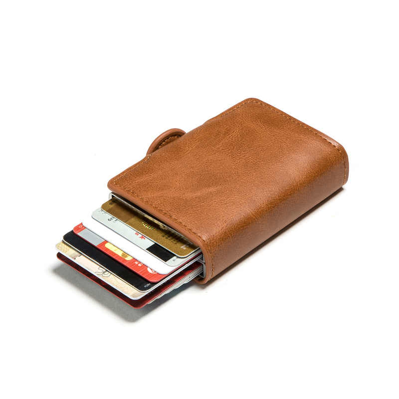 BISI GORO Double Boxes Vintage Card Holder Black Metal Anti Rfid Wallet Credit Card Holder Men Women Hasp Cash Card Pocket Case