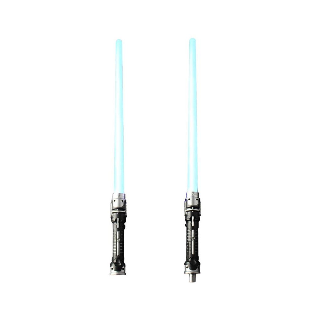 Star Earth Fighting Glowing Toy Sword Two In One Laser Sword Sound Effect Blue Light 2Pcs Boy Toy