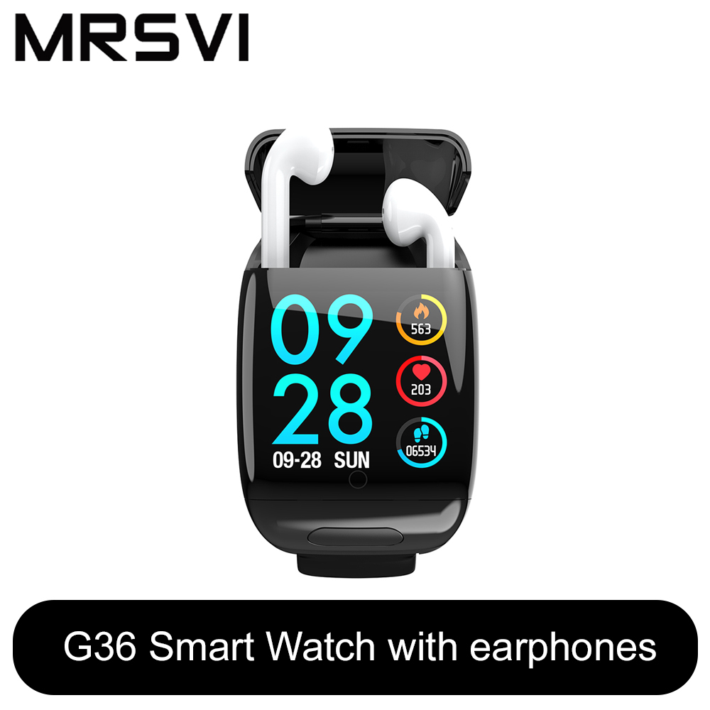 Sport Watch 1.3inch G36 Smart Watch With Bluetooth Earphone Heart Rate Monitor Smart Wristband Long Time Standby Wireless Earbud