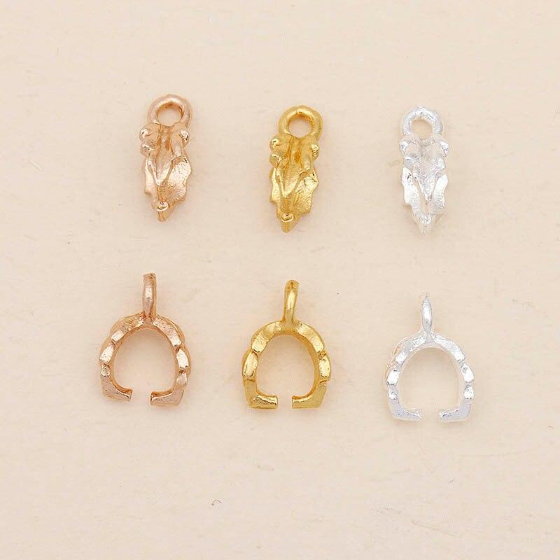 20 piezas colgante fianzas Clip conector de plata de oro Fligree la hoja broche accesorios para la fabricación de la joyería Diy resultados 7*11mm
