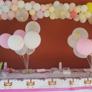 Image 2 - Platos de vasos desechables para fiesta de cumpleaños niños niñas, vajilla de unicornio de feliz cumpleaños, rosa, suministros de fiesta, unicornio