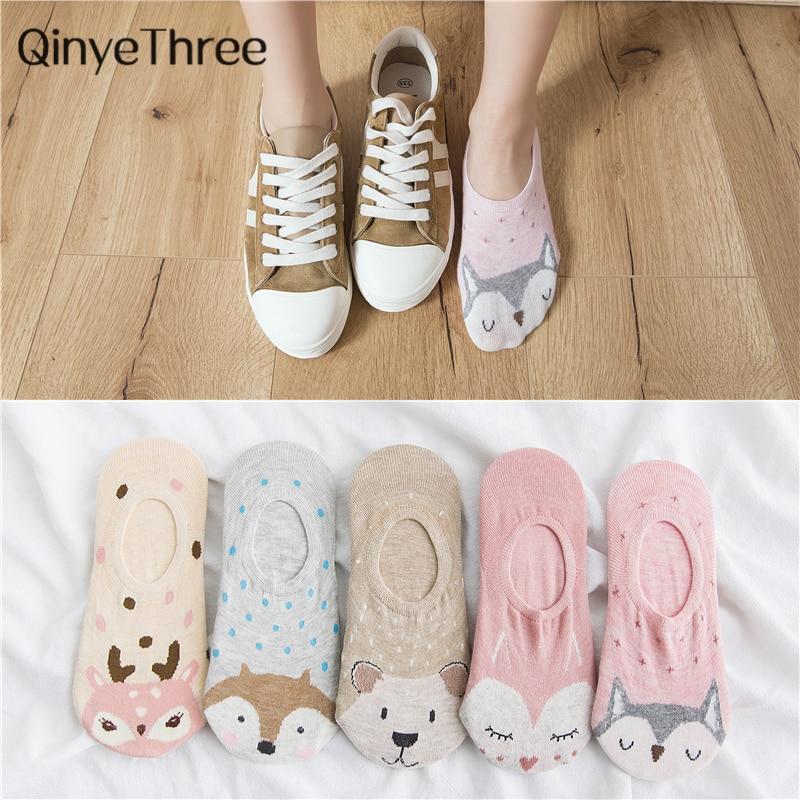 5Pairs/Lot Cartoon Unicorn Cat Fox Socks Cute Animal Women Socks Summer Funny Short Ankle Socks Ladies Cotton Sock Dropship(China)