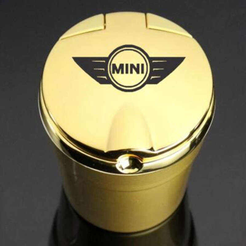 Пепельница с логотипом автомобиля, декоративная пепельница для офиса с сисветильник Том, для MINI Cooper R55, R56, R57, R58, R60, R61, F54, F55, f56, F57, F60