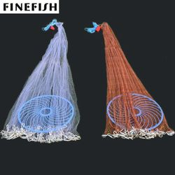 Finefish 2.4-7.2M with big ring USA Cast Net Easy Throw Catch Fishing Net Hunting Hand Throw Network Small Mesh Fly Trap network