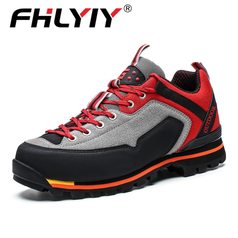 Fhlyiy Brand Men Leather Casual Shoes Outdoor Non-Slip Waterproof Leather Sneakers Hight Quality Male Hiking Sport Shoes Size 47
