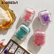 EKONEDA Hard Plastic Case For Airpods Case Luxury Liquid Glitter Bling Protective Cover For Airpod 1/2 Case