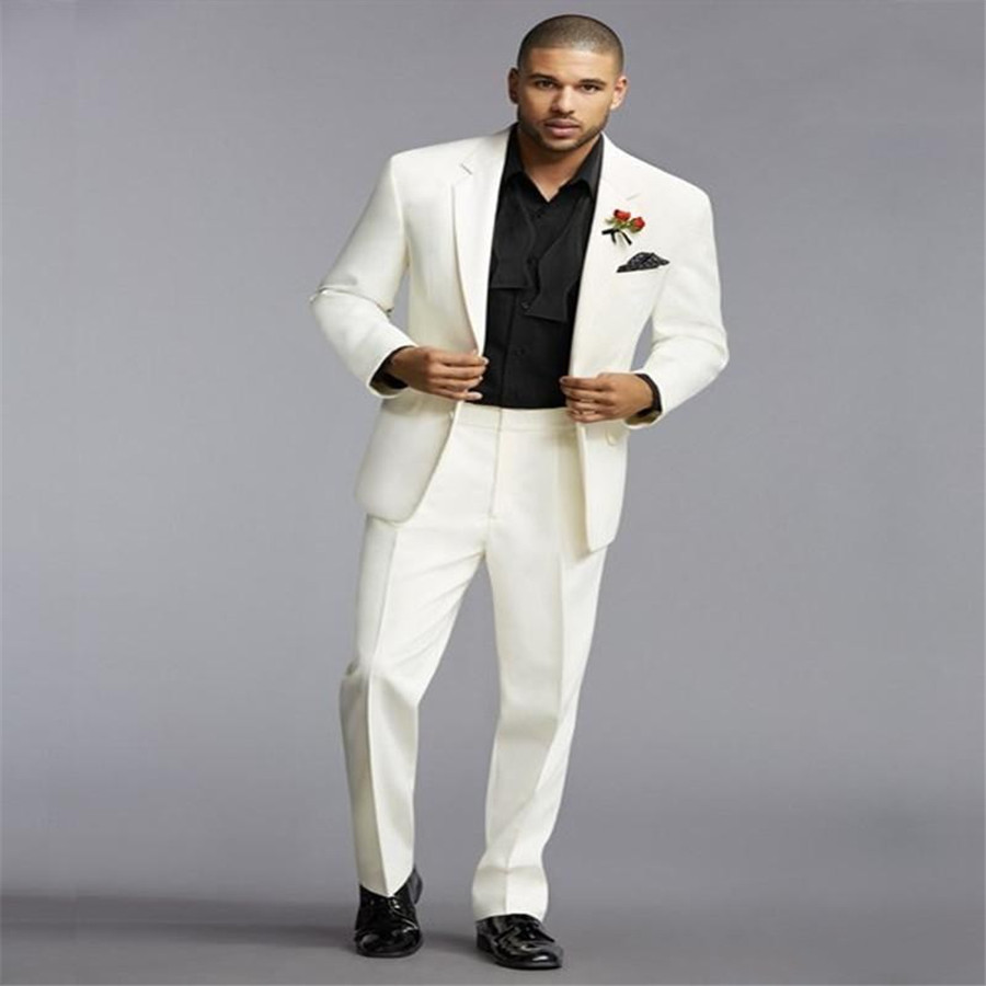 Elegant Ivory 2 Piece Grooms Wedding Tuxedos Peaked Lapel Two Buttons Suits Custom Trim Fit Mens Suits (Jacket+Pant)