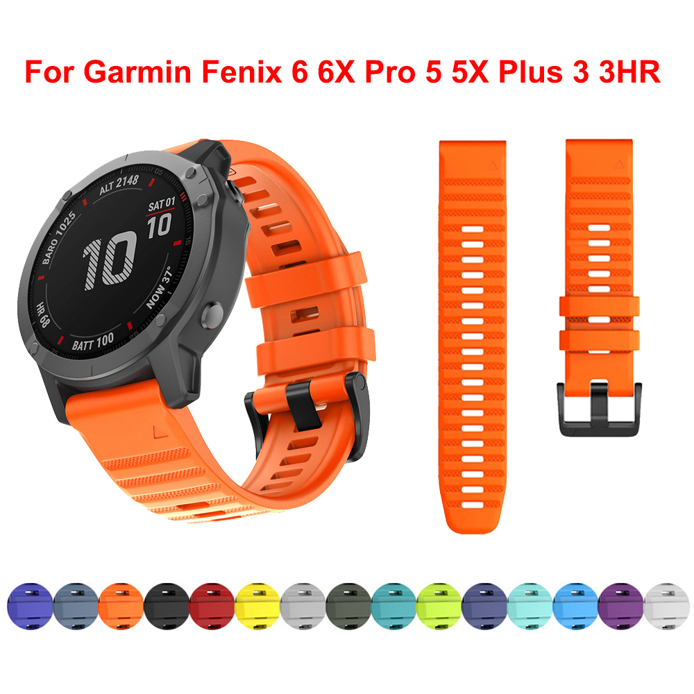 26 22 20mm Watchband For Garmin Fenix 6 6X Pro 5 5X Plus 3HR Silicone Band Fenix6 Fenix5 Watch Quick Release Easyfit Wrist Strap