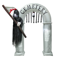 8' Airblown Archway Grim Reaper Halloween Inflatable Outdoor Halloween Decor Home Decorations Yard LED Lights Outdoors Ornaments