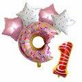 6 шт./лот воздушные шары из фольги в виде пончика, шары в форме пончика с цифрами, Детские шары для еды, украшения для дня рождения, товары для ...