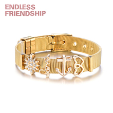 Endless Friendship Women New Fashion Gold Color Love Heart Mesh Bracelet Sets Stainless Steel Bangle for Valentines Gift