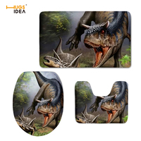 HUGSIDEA 3D Dinosaur Animal Printed 3pcs Toilet Seat Cover Non slip WC Mat Set Children Bathroom Decoration Floor Rugs Carpets