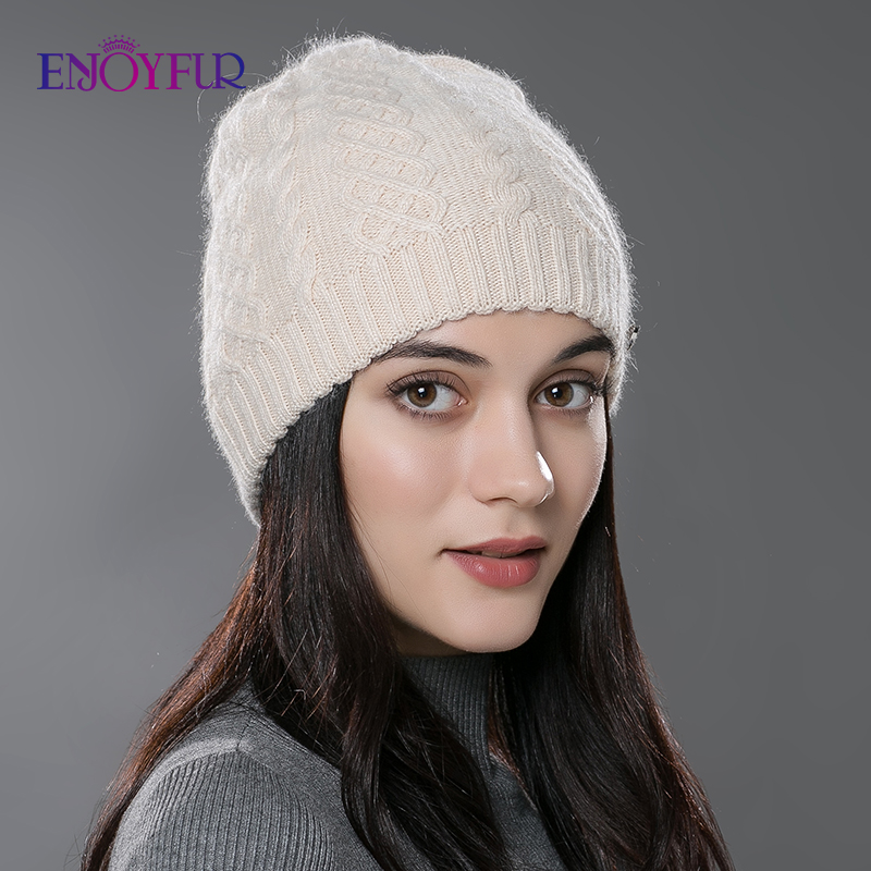 ENJOYFUR Women Autumn Winter Hats  Elastic Knitted Wool Cotton Gorro Solid Multicolors Beanies Cap High-end Cute Casual Hats