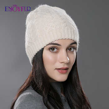 ENJOYFUR Women Autumn Winter Hats  Elastic Knitted Wool Cotton Gorro Solid Multicolors Beanies Cap High-end Cute Casual Hats - DISCOUNT ITEM  30% OFF All Category