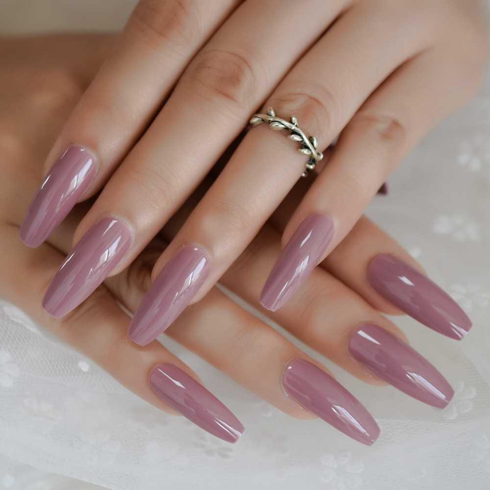 Dark Purple Pink Press On False Nails Extra Long Uv Gel Coffin Ballerina Flat Shape Press On Fingersnails Free Adhesive Tapes Aliexpress