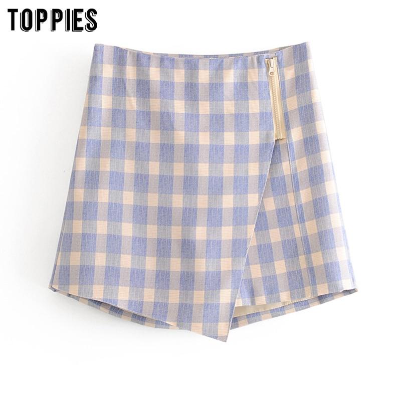 Summer Plaid Shorts Skirts Womens Suit Shorts High Waist Asymmetrical Zipper Skirts