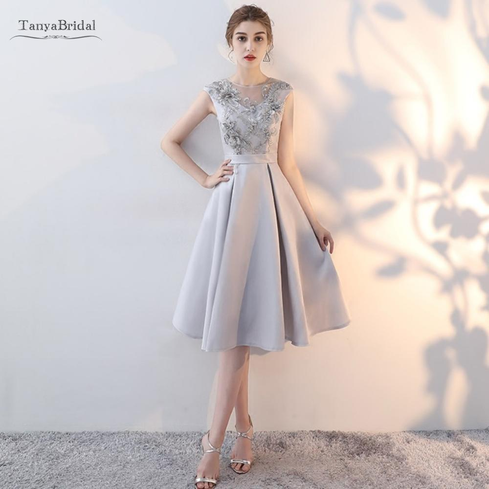 Knee Length Satin Bridesmaid Dresses A Line Formal Slivery Simple  Modest Wedding Guest Party Dress Lace Up Back  JQ631