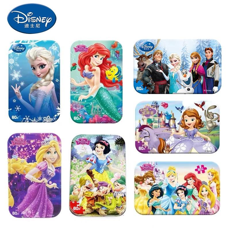Disney, original frozen 2 caixa de metal 60 fatias, quebra-cabeça de madeira, brinquedo, disney pixar, carros, quebra-cabeças educacionais, brinquedos para crianças
