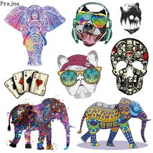 Prajna Skull Patches Punk Heat Transfer Vinyl Iron On Transfers For Clothes Elephant Tiger Patch Applique Ironing Stickers DIY