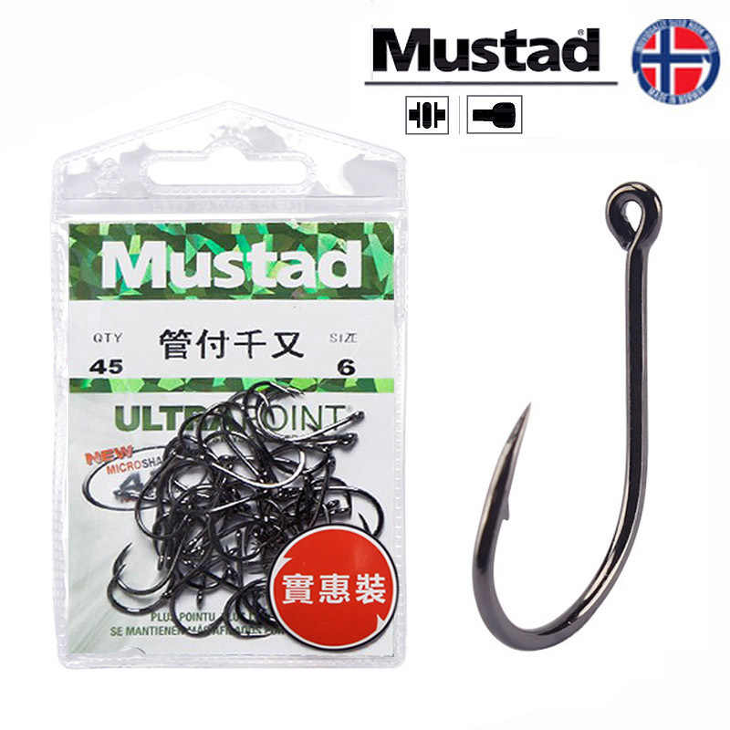 Fishing Hooks Mustad Strength Stream Seapole High Carbon Steel Barbed Hook with Ring Pesca Fishhooks HOT