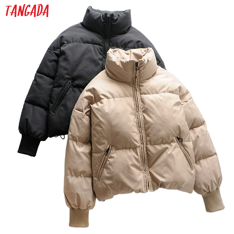 Tangada Women Solid Khaki Oversize Parkas Thick 2019 Winter Zipper Pockets Female Warm Elegant Coat Jacket 6A120