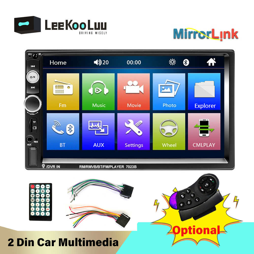Leekooluu 2 DIN Mobil Radio 2Din Autoradio Mobil Stereo Bluetooth FM Radio Audio AUX USB SD Android Mirrorlink Multimedia Player