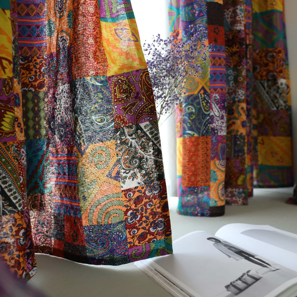 Bohemian Retro Ethnic Curtain Cotton Linen Semi-Shading Floor-To-Ceiling Window Curtain Living Room Curtain Kitchen Curtain