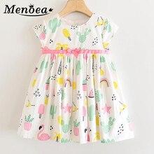 Menoea Kids Bow Belt Dress 2020 Children Cute Ice-Cream Pattern Printing Clothes Big Children Summer Clothing Girls 3-10