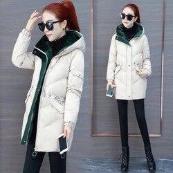 Vangull 2019 Women Winter Hooded Warm Coat Plus Size Green Cotton Padded Jacket Female Long Parka Womens Wadded Jaqueta Feminina 4
