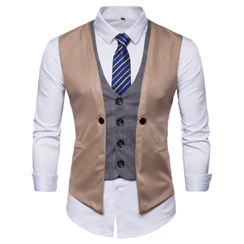 2019 Waistcoat Dress Vests For Men Casual Slim Fit Mens Autumn Formal Business Jacket фото