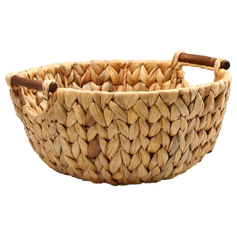 ฟางธรรมชาติ - weaved Disk ตะกร้าผลไม้ขนมขบเคี้ยว Melon Seed ถาดต่างๆตะกร้าผลไม้ตะกร้าเดสก์ท็อปถาด