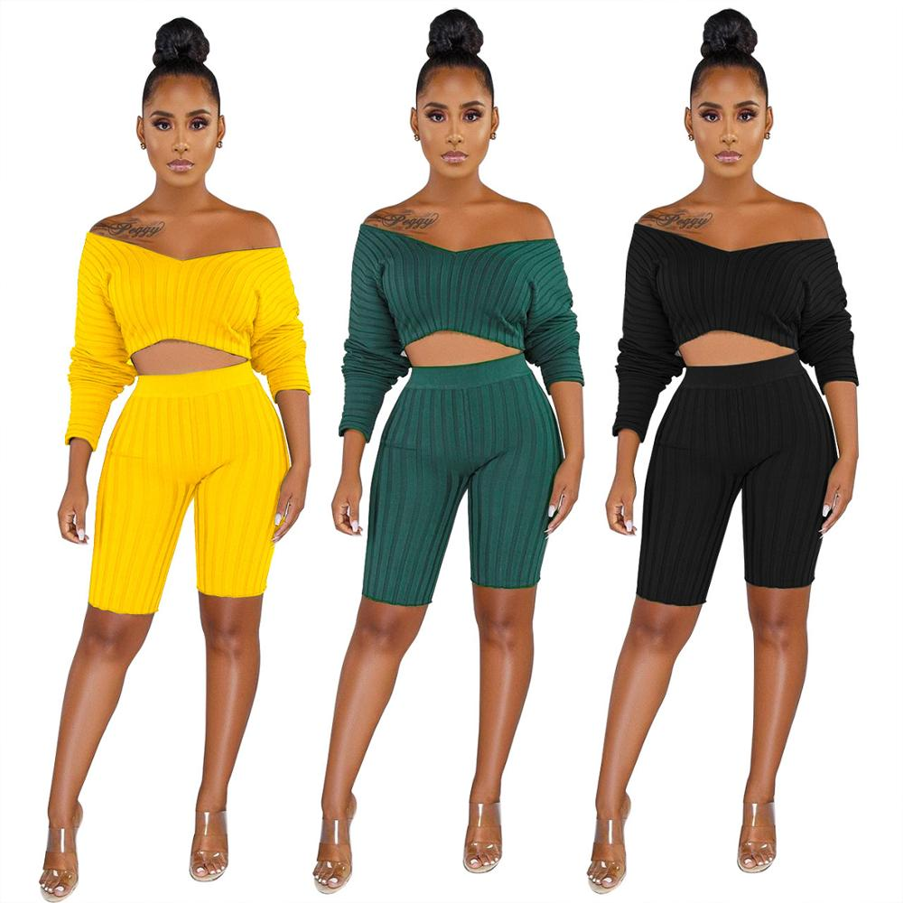 Echoine Women Two peice Sets One-shoulder striped long-sleeved shorts two-piece suit
