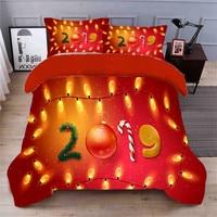 Red christmas letter 3D Printed Design Bedding Set Comforter Romantic Duvet Cover Set BedClothes 4Pcs Twin Queen Size