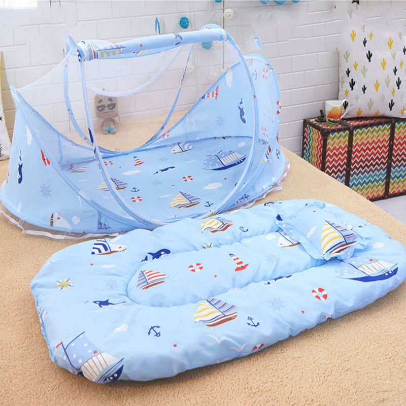 3Pcs/set Portable Baby Mosquito Net Folding Infants Baby Bed Crib Netting Cushion Summer Travel Cotton Baby Pillow Mattress