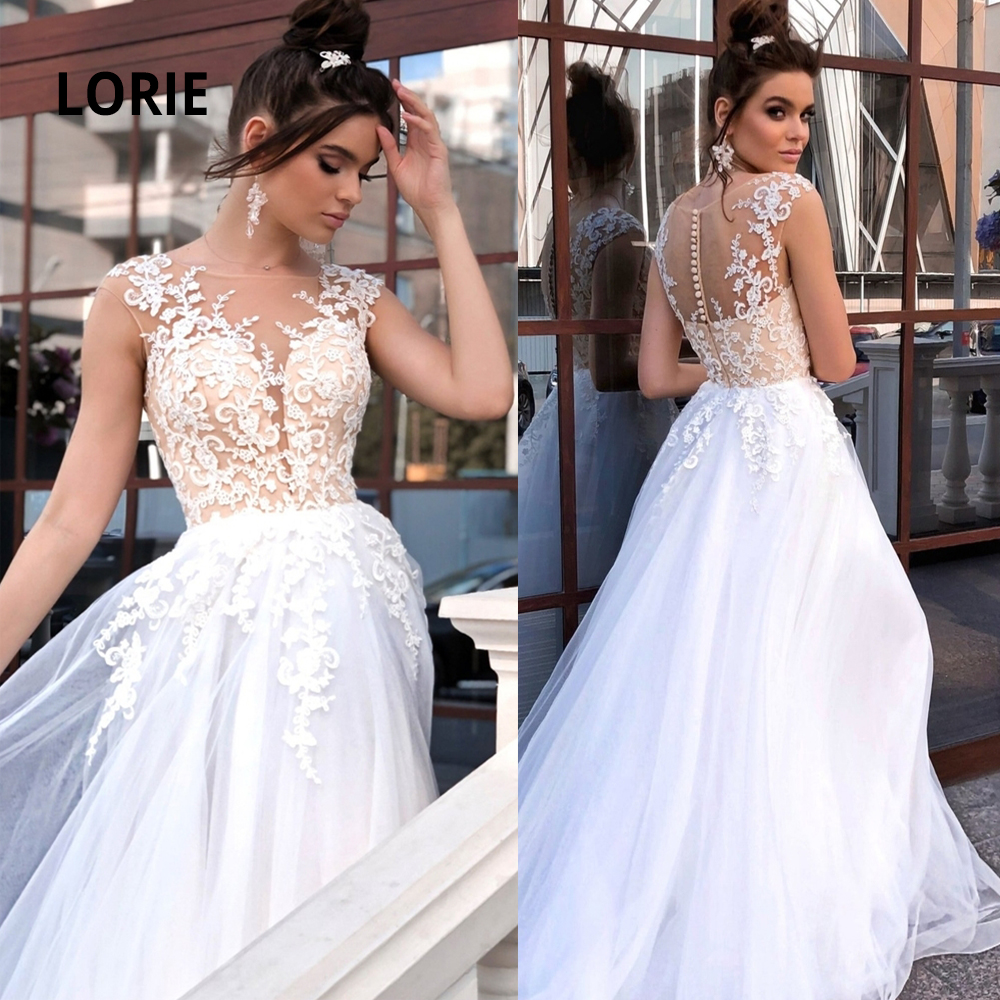 LORIE Boho Wedding Dresses Lace Appliqued Tulle Sleeveless Bridal Gowns Vintage Beach Robe De Mariage Bohemian Plus Size