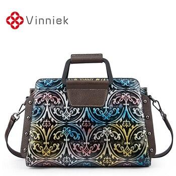 New Genuine Leather Embossed Flower Women Bags Retro Rivet Female Large Capacity Handbag Western Style Lady Shoulder Bag Vintage