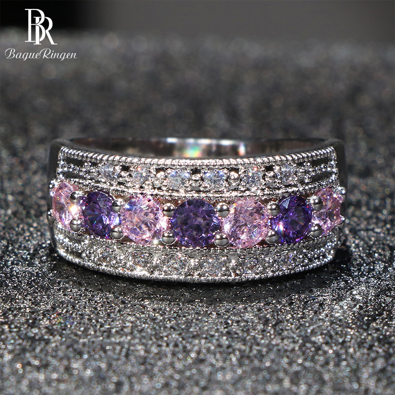 Cellacity Luxury Silver 925 Jewelry Gemstones Ring For Women Amethyst Powder Crystal Zircon Trendy Female Gift Party Wholesale