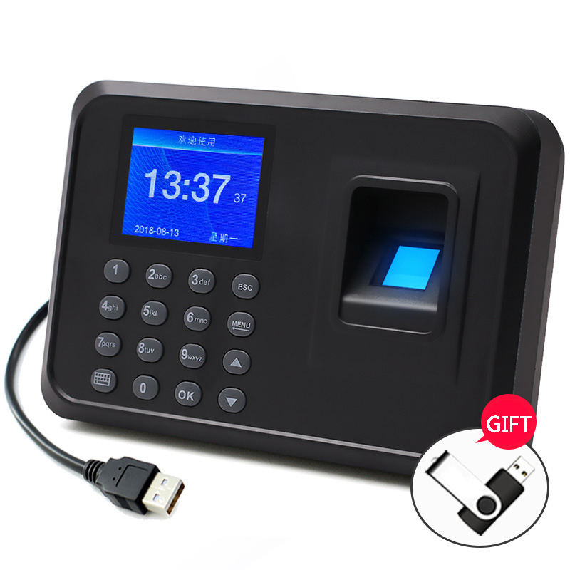 fingerprint recognition device password identification multi-language work punch card time attendance machine company sign-in