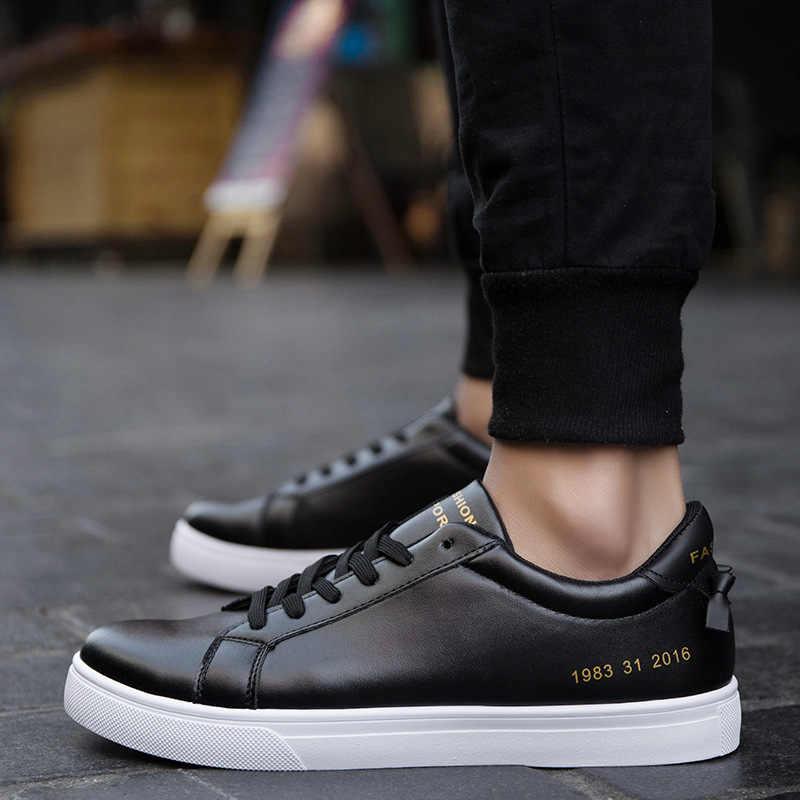 Yeni Beyaz siyah ayakkabı Erkekler Sneakers Ayakkabı Moda erkekler Rahat Sokak pu deri erkek ayakkabısı Marka Erkek Ayakkabı ST473