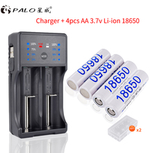 PALO 3.7V 18650 rechargeable battery reachargeable batteries li-ion 18650b battery with led charger for AA AAA 18650 14500 18650 3 7v rechargeable li ion battery eu us plug aaa aa 18650 14500 10440 universal charger for led flashlight torch headlamp